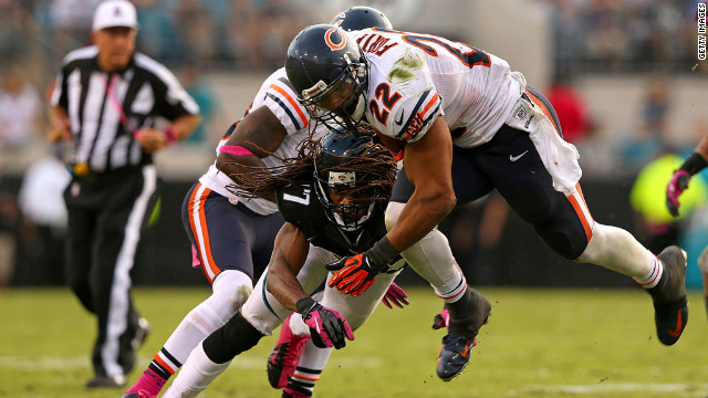 Matt Forte of the Chicago Bears rushes against the Jacksonville Jaguars on Sunday at EverBank Field in Jacksonville, Florida.