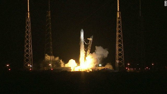 The private company SpaceX sent an unmanned capsule with supplies to the International Space Station on October 7, 2012, in the first commercial space mission. It's the first of a dozen commercial cargo flights under a contract with NASA.