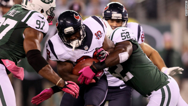 Justin Forsett of the Houston Texans runs the ball Monday against the New York Jets.