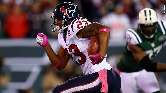 Houston Texans running back Arian Foster runs for 46 yards in the first quarter against the New York Jets on Monday, October 8, at MetLife Stadium in East Rutherford, New Jersey. Check out the action from Week Five of the NFL, or &lt;strong&gt;&lt;a href='http://www.cnn.com/2012/09/27/worldsport/gallery/nfl-week-4/index.html'&gt;look back at the best from Week Four&lt;/a&gt;&lt;/strong&gt;.