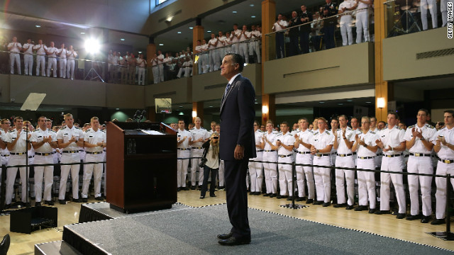 Mitt Romney prepares to deliver a foreign policy speech at the Virginia Military Institute on October 8.