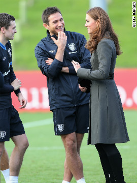 Kate also took the time to meet members of the England team. Here she is pictured talking to Chelsea midfielder Frank Lampard.