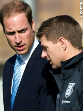 William deep in conversation with Liverpool and England captain Steven Gerrard.