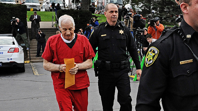 Sandusky leaves the Centre County court house in Pennsylvania during his trial last October.
