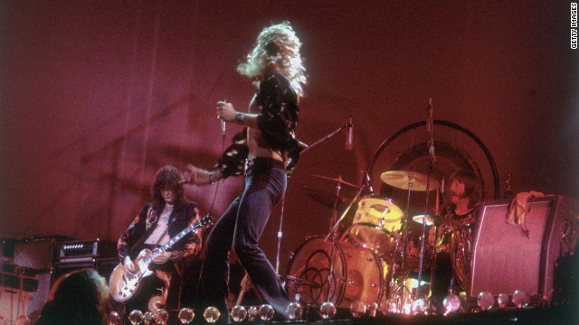 Led Zeppelin's Jimmy Page, from left, Robert Plant and John Bonham perform in 1977. The legendary British rock group disbanded after Bonham's death in 1980 but remains one of the most influential bands of its era.