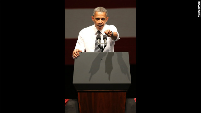 Obama holds a campaign event Monday at the Bill Graham Civic Auditorium in San Francisco.