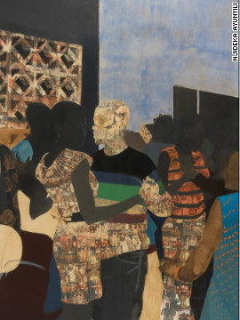 """This was the first multiple figure piece I did,"" said Akunyili. ""I had done so many two person compositions at this point that I wanted to challenge myself to figure out how to orchestrate a rectangle when there are multiple bodies to consider. <br/><br/>""The image is of a dance club and it was influenced by Malick Sidibe's photographs of dancing in Mali. I really responded to the energy in the Sidibe pictures."" <br/><br/>"