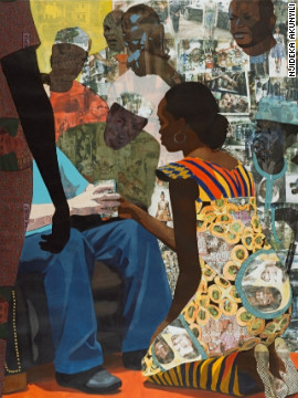 "Akunyili is part of the Igbo tribe, where a traditional wedding involves the bride kneeling as she gives a cup of palm wine to her new husband. <br/><br/>""I transferred and collaged images from my wedding into a lot of my work and decided to make a piece about this exchange,"" she said.<br/><br/>"
