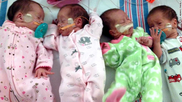 Ashley and Andy Adams welcomed quadruplets to the world in late August.