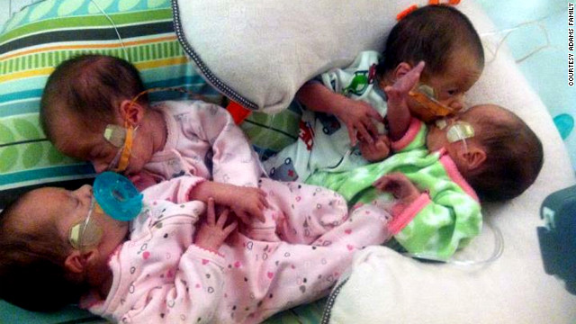 Wyatt, Rylie and identical twins Samantha and Braelynn were delivered via cesarean section at 30 weeks. <br/><br/>
