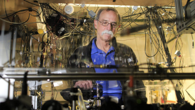 David Wineland, winner of the 2012 Nobel Prize in physics, gives a tour Tuesday of the National Institute of Standards and Technology in Boulder, Colorado, where he works in the physics department.