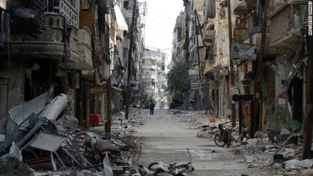 A rubble-filled street is seen during clashes between rebel fighters and Syrian government forces in the Saif al-Dawla district of Aleppo on Tuesday.