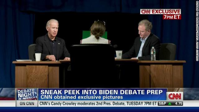 Vice president Joe Biden, left, preps for a debate again Wisconsin Rep. Paul Ryan.