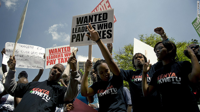 Kenyan demonstrators march in Nairobi after lawmakers voted themselves a 110,000 US dollar sendoff bonus.