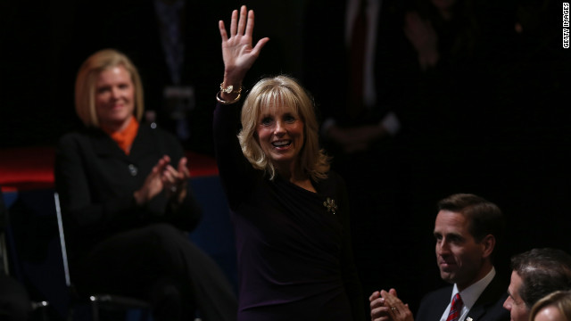 Dr. Jill Biden, wife of Joe Biden, greets the crowd.