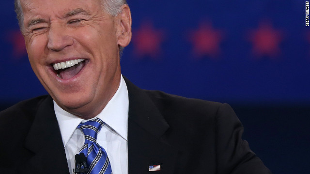Vice President Joe Biden shifted from laughter to sternness while debating U.S. Rep. Paul Ryan Thursday night, much to the delight of followers on Twitter and social media. &lt;a href='http://www.cnn.com/2012/10/11/politics/gallery/vp-debate/index.html'&gt;See highlights from the debate&lt;/a&gt;.