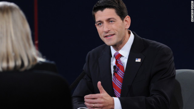 Vice presidential candidate Paul Ryan engages the moderator during the vice presidential debate.