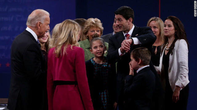 Vice President Joe Biden and Rep. Paul Ryan mingle with their families after the debate.