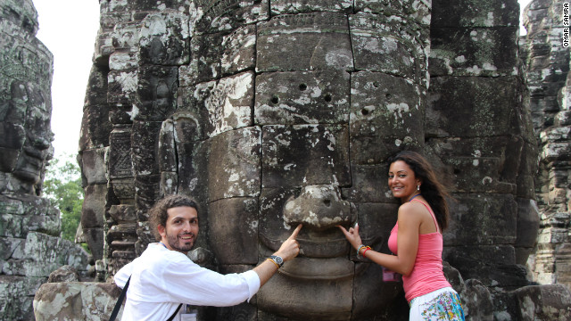 Samra now owns a travel company, Wild Guanabana, and is partial to the charms of globetrotting himself. Here he visits the temples of Angkor Wat in Cambodia with his wife, Marwa.
