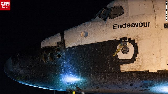 CNN iReporter Wes Smith and other space enthusiasts got a close-up view of the space shuttle Endeavour early Friday as it makes its final journey from Los Angeles International Airport to the California Science Center. Smith says he saw the shuttle about 5 a.m. after waiting in a Los Angeles parking lot across from Endeavour's overnight holding area.