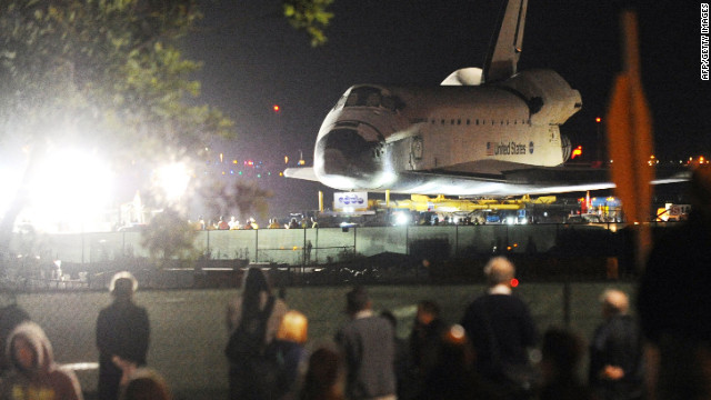 Endeavour makes its final commute through L.A. streets