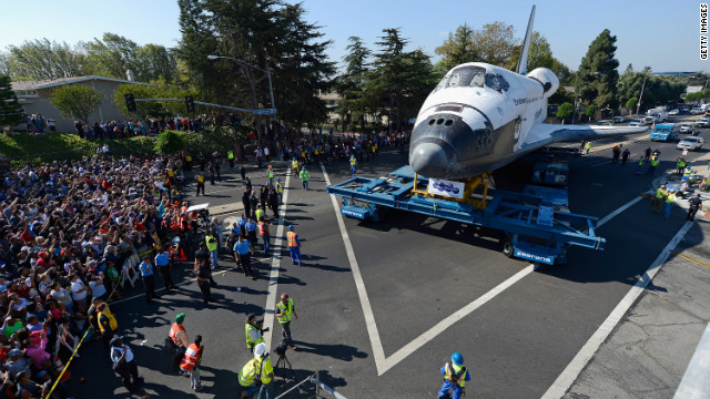 Endeavour makes a turn at an intersection.