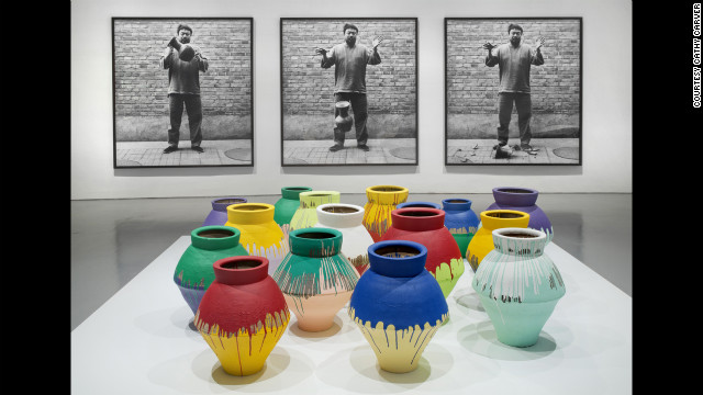&quot;Dropping a Han Dynasty Urn&quot; (1995/2009), top, is a photographic triptych that confronts the power of ancient symbols, according to the museum, while &quot;Colored Vases&quot; (2007-2010) seeks to replace those symbols with new works.