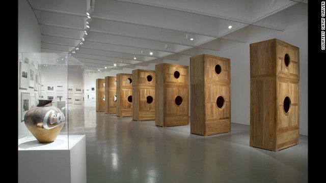 """Coca-Cola Vase"" (2007), left, is a product of a new aesthetic, meant to replace older or outdated works, according to the museum. ""Moon Chest"" (2008) is at right."