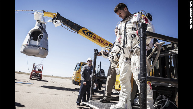 Baumgartner leaves his capsule after the flight was aborted on Tuesday.