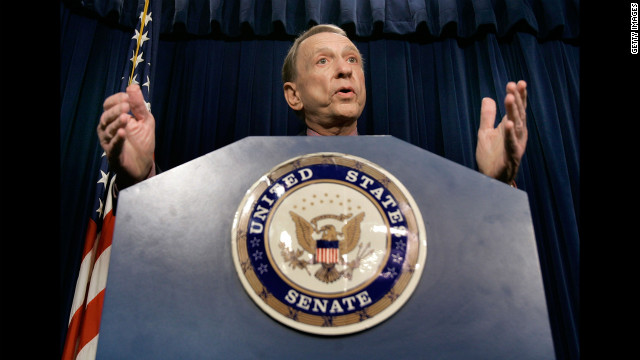 Specter speaks about the Patriot Act, which he said will be renewed four more years, on Capitol Hill in December 2005.