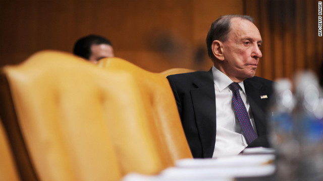 Specter listens to testimony before the Senate Appropriations Committee in May 2009.