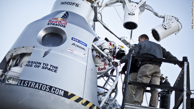 Baumgartner steps in to the capsule on Sunday. He has been physically and mentally preparing for five years.