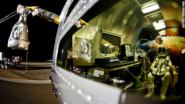 Baumgartner sits in his trailer ahead of Sunday's flight.