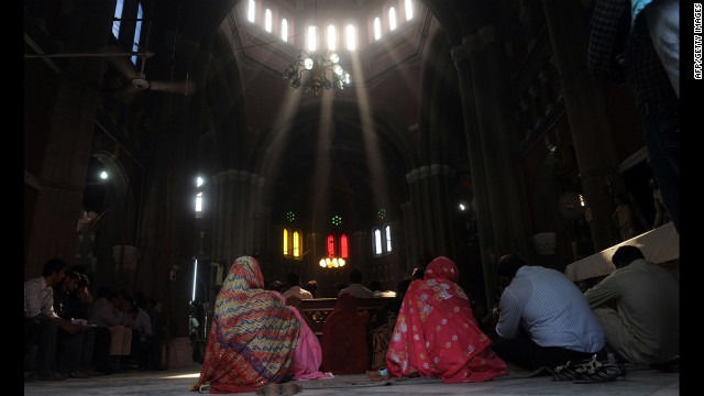 Pakistani Christians attend a mass praying for the recovery of Malala at a church in Lahore on Sunday.
