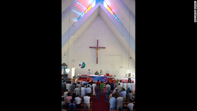 Pakistani Christians attend a mass prayer for the recovery of Malala at Fatima Church in Islamabad on Thursday.