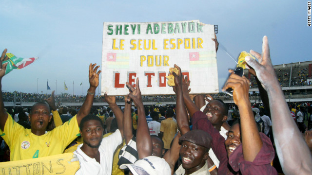 Togo's star player is Tottenham Hotspur striker Emmanuel Adebayor. He is reverred by the country's football fans, with this banner saying: &quot;Adebayor: Togo's only hope&quot;.