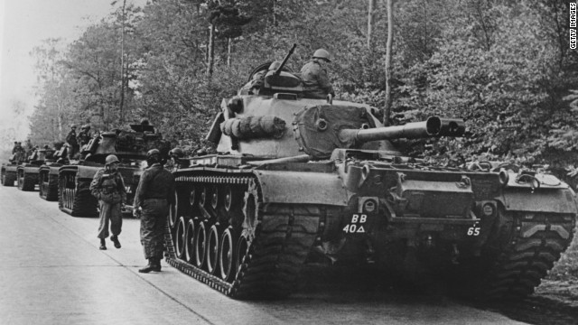 American tanks are on alert in the Berlin Grunewald, West Germany, on October 25, 1962, as the crisis over the Cuban blockade looms.