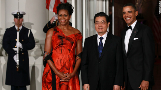 Michelle Obama received criticism for her Alexander McQueen gown at the White House state dinner with President Hu Jintao. The First Lady's critics scrutinized her decision to wear a British designer instead of a Chinese one.