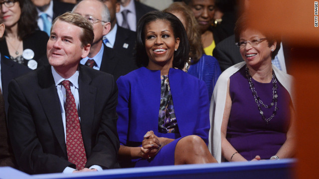 MIchelle Obama wore a royal blue ensemble by Preen to the first presidential debate. The First Lady had worn the skirt suit in public appearances twice before.