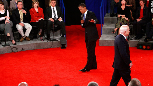 During the 2008 presidential town hall debate, GOP candidate John McCain wandered around stage as Democratic nominee Barack Obama tackled questions.