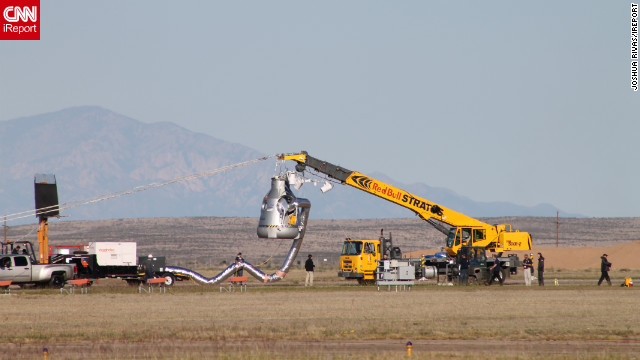 CNN iReporter Joshua Rivas watched crews prepare the capsule before sending Baumgartner into the air.