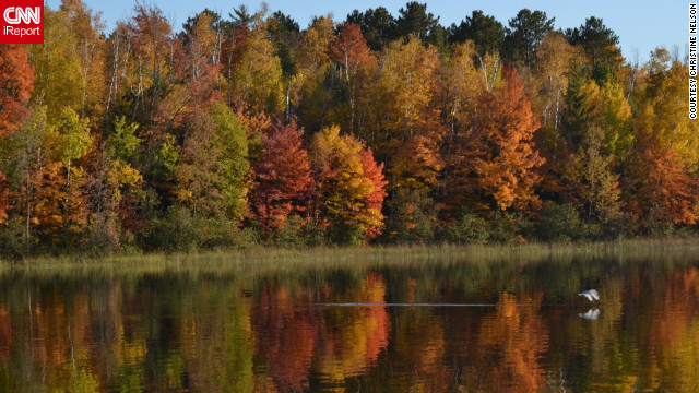 Autumn color is reflected in <a href='http://ireport.cnn.com/docs/DOC-856535'>Ely Lake</a> in Minnesota.