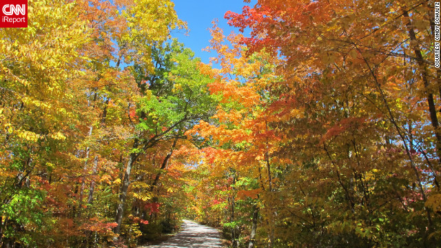 Cindy Schultz took her convertible on this <a href='http://ireport.cnn.com/docs/DOC-852131'>Kettle Moraine, Wisconsin</a>, road, hoping to see some fall color. She wasn't disappointed!