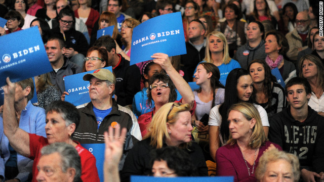 Supporters of President Barack Obama cheer during the campaign rally at Ohio Wesleyan on Monday.