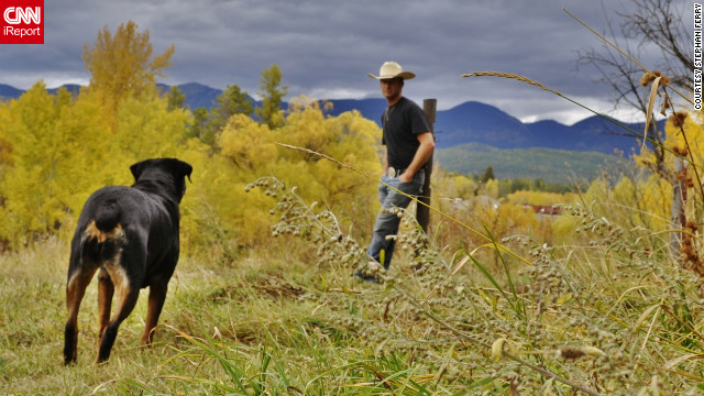Stephan Ferry and his dog, Java, enjoy the yellow leaves of fall in their <a href='http://ireport.cnn.com/docs/DOC-858166'>Whitefish, Montana,</a> backyard.