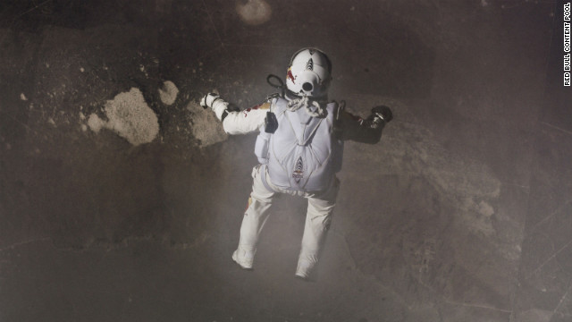 Baumgartner free-falls after stepping off the 24-mile high platform. He reached speeds of more than 830 mph, breaking the sound barrier.