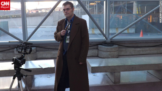 Doctor Who, a character now in his 11th incarnation, recently visited New York on television. This is actually a costumed fan as the 10th Doctor (played for a time by David Tennant), but he fits in more than ever at New York Comic Con.<br/><br/><a href='http://ireport.cnn.com/docs/DOC-857175' target='_blank'>More photos of characters invading NYC can be found on Diane Abela's iReport</a>.