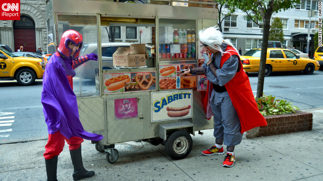 "It's not every day you see Magneto, sworn enemy of the ""X-Men,"" taking a break for a New York hot dog.<br/><br/><a href='http://ireport.cnn.com/docs/DOC-858246' target='_blank'>See all of Rene Carson's photos on her iReport</a>."