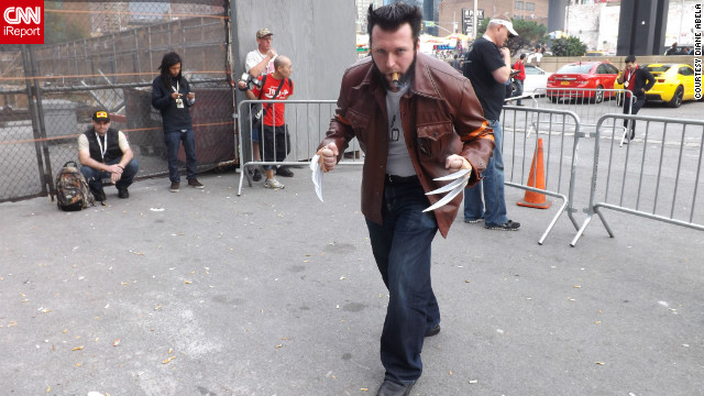 Diane Abela shot quite a few photos of fans in costume for iReport, for the second year in a row at New York Comic Con. She caught this man in character as Wolverine just outside the convention.<br/><br/><a href='http://ireport.cnn.com/docs/DOC-857738' target='_blank'>Check out more photos on Diane Abela's iReport</a>.