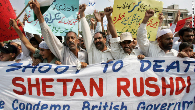 "Activists chant anti-British slogans during a protest against Salman Rushdie's ""Satanic Verses"" in 2007. Alam says despite the fact Rushdie is British, Pakistanis protested the publishing of his book outside the American Center in Islamabad in 1989."